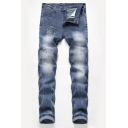Fashion Patched Stretch Straight Leg Light Blue Torn Jeans for Men