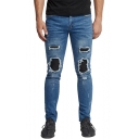 Mens Cool Ruched Patchwork Stretch Slim Fit Ripped Moto Jeans
