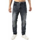 Men;s Retro Snow Washed Grey and Black Stretch Regular Fit Jeans