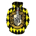 Harry Potter Fashion University Logo Print Sport Casual Yellow Hoodie