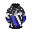Hip Hop Style Fashion 3D Flag Pattern Sport Casual Black Hoodie