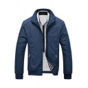 New Trendy Long Sleeve Zip Closure Plain Slim Business Casual Jacket