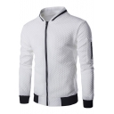 Popular Solid Stand Collar Men's Diamond Plaid Zipper Leisure Sweatshirt Coat