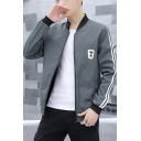 Cool Stand Collar Stripe Print Patchwork Long Sleeve Zip Placket Baseball Jacket