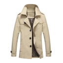 Fashion Plain Notched Lapel Lined Epaulets Single-Breasted Cotton Wash Trench Coat for Men