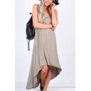 New Trendy Spaghetti Straps Simple Plain Maxi Casual Loose Asymmetrical Slip Dress