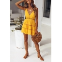 Summer Fashion Yellow Hollow out Strap Plain Mini A-Line Slip Dress