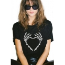 Cool Skull Heart Printed Basic Round Neck Short Sleeve Loose Relaxed Black T-Shirt