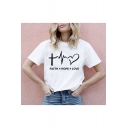 Letter FAITH HOPE LOVE Basic Round Neck Short Sleeve Summer Graphic Tee