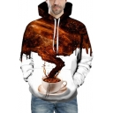 New Arrival Unique 3D Cuban Coffee Smoke Print Loose Casual White Hoodie