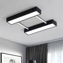 Black/White Linear Flush Light Nordic Style Acrylic LED Flush Light Fixture for Office Dining Room