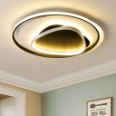 Ring and Triangle Ceiling Fixture Contemporary Metallic LED Flush Light in Black White for Living Room