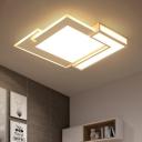 Ultrathin Block LED Flush Mount Modernism Metal Surface Mount Ceiling Light in White for Office