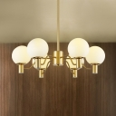 White Glass Ball Hanging Light Fixture Contemporary 3/6/8 Lights Chandelier Lamp in Gold for Bedroom