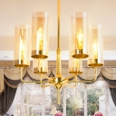 6/10 Lights Tube Chandelier Light with Cognac Glass Shade Modern Design Drop Ceiling Lighting
