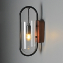 Oblong Wall Light with Metal Frame Vintage-Style Single Light Sconce Lighting in Black for Hallway