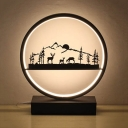 Black/White Halo Ring Table Lamp Silicon Gel Decorative LED Table Light for Sitting Room Kindergarten
