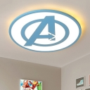 Super-thin Round Ceiling Light with Blue A Modernism Children Room Acrylic LED Flush Light