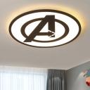 Black Ultra Thin Round Flush Light Modern Design Acrylic LED Ceiling Flush Mount for Study Room