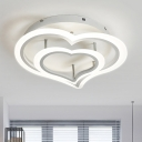 Metallic LED Semi Flush Mount with Loving Heart White Ceiling Fixture for Coffee Shop Bedroom