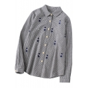 Cute Allover Cat Embroidery Fashion Plaids Print Loose Fit Button Down Shirt