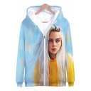 American Singer-Songwriter New Trendy 3D Portrait Printed Loose Fit Long Sleeve Zip Up Hoodie