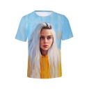 Cool 3D Portrait Printed Basic Short Sleeve Round Neck T-Shirt
