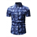 Summer New Fashion Floral Printed Short Sleeve Slim Fit Shirt for Men