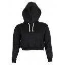 New Stylish Long Sleeve Simple Plain Women's Cropped Drawstring Hoodie