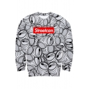 StreetCan Merch Trendy 3D Printed Round Neck Long Sleeve Pullover White Sweatshirt