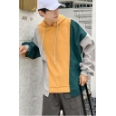 Boys Hot Popular Colorblock Patchwork Long Sleeve Relaxed Boxy Thick Hoodie