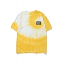 Simple Letter GB Cool Gesture Print Back Fashion Yellow Tie Dye Loose T-Shirt