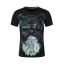 3D Funny Cartoon Cat with Glasses Hip Hop Style Short Sleeve Black Tee