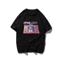 Simple Letter SPACE TIME Astronaut Printed Unisex Cotton Loose Hip Hop Tee