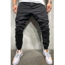 Mens Fashion Simple Plain Pleated-Front Skinny Fit Casual Pencil Pants