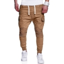 Mens Cool Drawstring Waist Knee Pleated Detail Skinny Fit Cargo Pants Pencil Pants