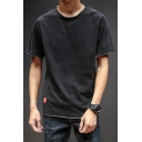 Mens Summer Retro Fashion Patched Hem Basic Short Sleeve Cotton Casual Loose T-Shirt