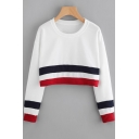 Women's Colorblock Stripe Print Long Sleeve Round Neck White Cropped Sweatshirt