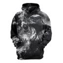 Cool 3D Printed Long Sleeve Casual Sport Black Hoodie