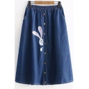 Cute Cartoon Rabbit Embroidery Elastic Waist Button-Down Midi A-Line Denim Skirt
