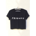 Simple Letter FRIENDS Printed Short Sleeve Cropped T-Shirt