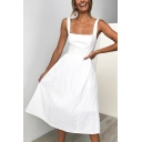 Summer Simple Plain Retro Square Neck Chic Midi A-Line Cami Dress for Women