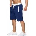 Men's New Stylish Simple Plain Zip-Pocket Drawstring Waist Casual Cotton Beach Sweat Shorts