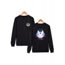 Overwatch Fashion Game Comic Character Print Round Neck Long Sleeve Loose Fit Pullover Sweatshirt