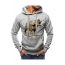 Triceratops Dragon Printed Mens Casual Fitted Pullover Hoodie