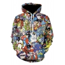 New Stylish Fashion 3D Comic Character Printed Long Sleeve Drawstring Hoodie