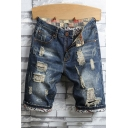 Men's Retro Distressed Ripped Detail Rolled Cuff Fitted Blue Denim Shorts