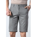 Men's New Fashion Simple Plain Summer Comfortable Linen Suit Shorts Dress Shorts