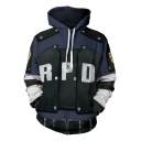 Resident Evil 3D Letter R P D Logo Print Comic Cosplay Costume Long Sleeve Blue Drawstring Hoodie