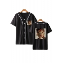 Popular Floral Figure Printed Short Sleeve Casual Unisex Button-Front Baseball Shirt
